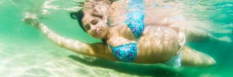 fotografia gestante subaquática